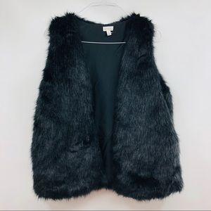 DECREE Black Faux Fur Vest Jacket